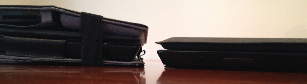 The strapped ProKASE with dock cover and type cover is slightly less bulky, especially compared to the Surface Pro with Power Cover (right).