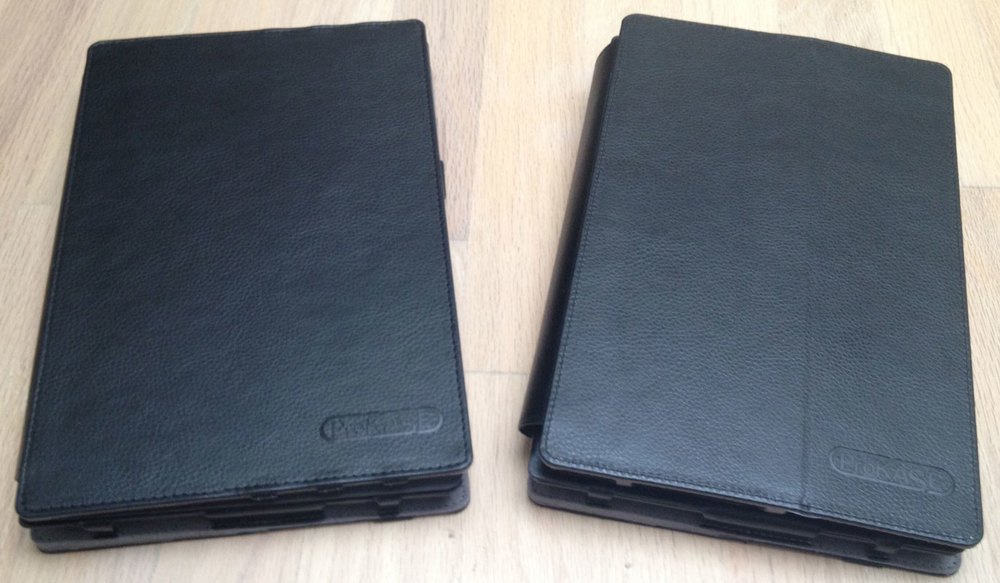 The dock cover (right)  has a visible fold on the underside of the padded palm rest.