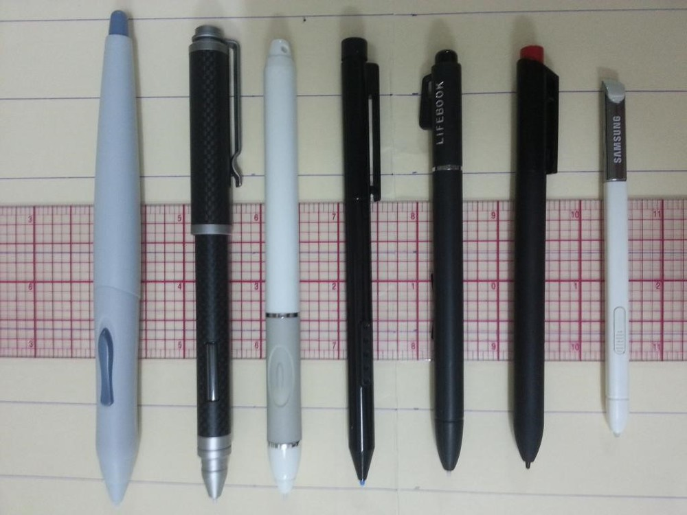 Left to right: UP-911E, Bamboo Feel IT Carbon, Motion Computing, Surface Pro, Fujitsu Lifebook 5010, Lenovo x230t, Galaxy Note 2 pen