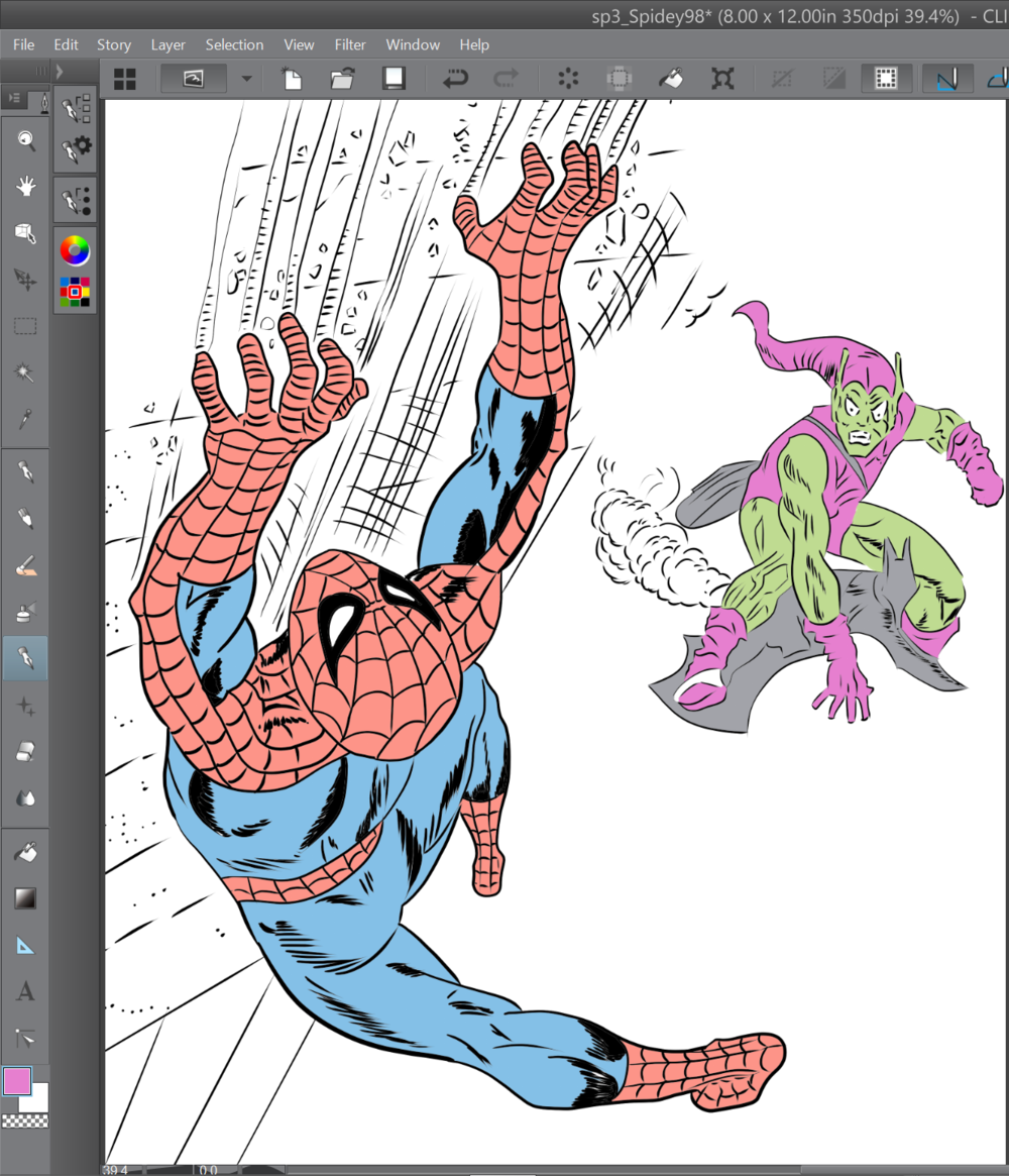 Work in progress digital inks over Gil Kane's classic cover for Amazing Spider-Man 98.