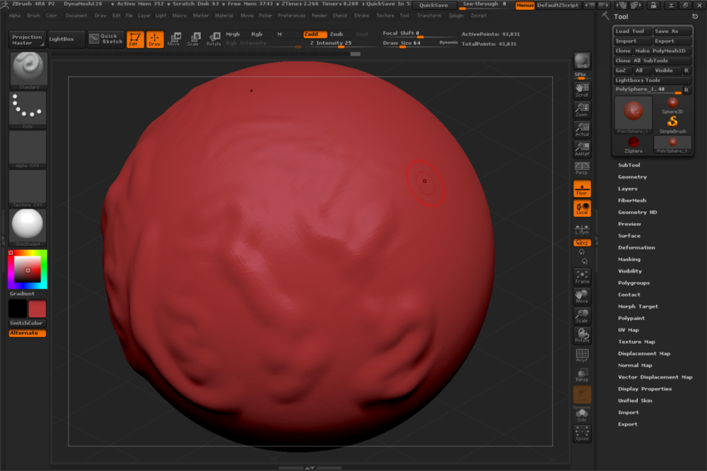 ZBrush 4R6 screen grab from Surface Pro 3. Note the different levels of impressions made by the N-Trig pen.