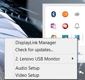 The DisplayLink Manager system tray menus.