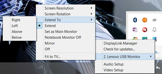 The monitor normally extends to the right, but you reverse it or even set it to display above or below your desktop.