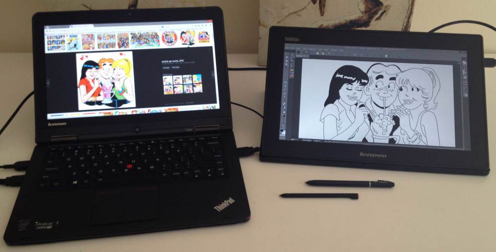 Lenovo's Thinkpad Yoga side by side with its ThinkVision LT1423p USB 3 monitor. Too much of a good thing? If it works for Archie Andrews...