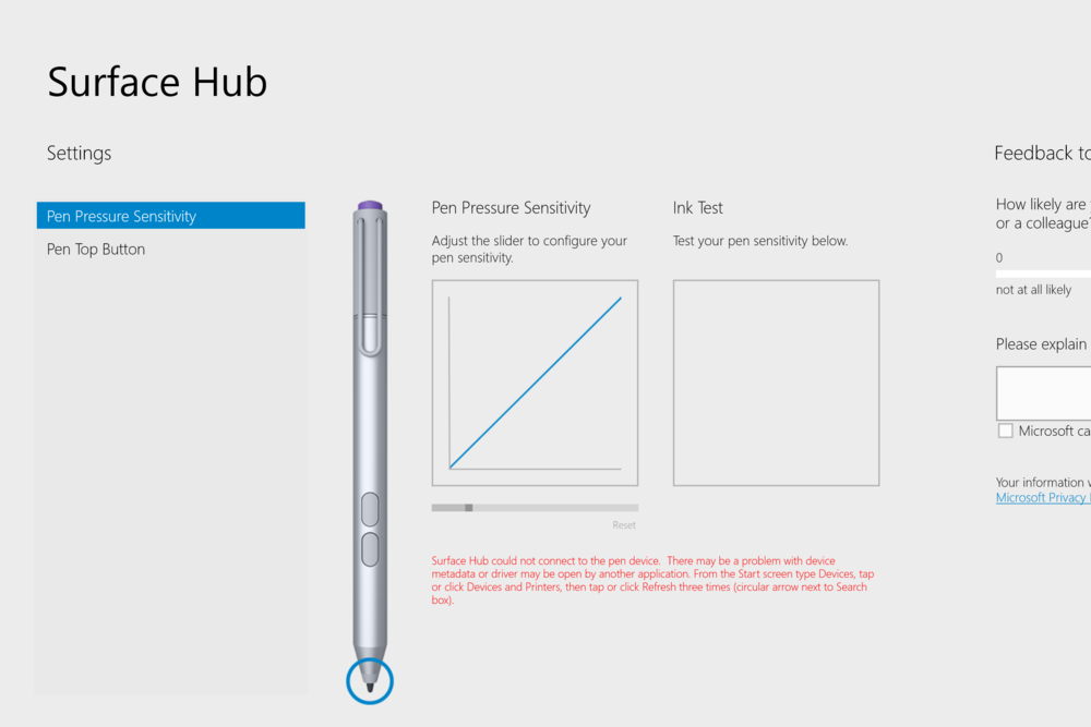 When I first loaded the app, it couldn't find my pen although the pen was clearly working. The instructions in red are somewhat difficult to understand, so after a couple of failed attempts, I just restarted the Surface Pro 3 and the pen was recognized.