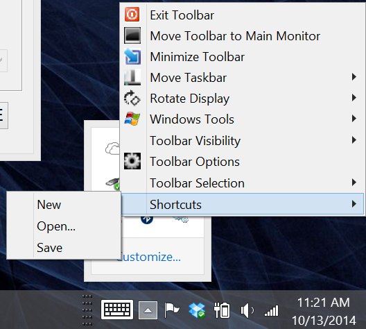 The shortcuts available in the tray menu can be edited in the Shortcuts menu window seen below.