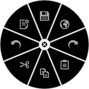 The default RadialMenu offers eight commonly used functions that will apply to most applications. Each wedge is customizable and a profile can be created on an application-specific basis.