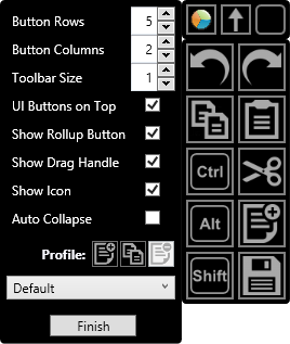By default, the toolbar consists of five rows and two columns. The individual buttons can be scaled and the top row of icons can be individually hidden. Auto collapse will shrink the toolbar when you mouse away from it.