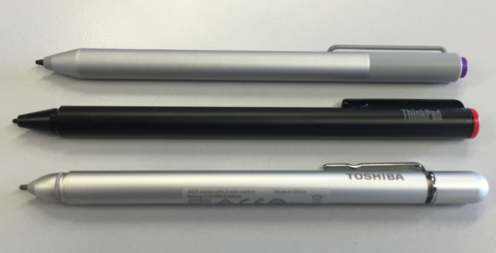 The Lenovo Thinkpad Active Capacitive Pen is slightly longer than either the Surface Pro 3 pen (top) or the Toshiba Encore 2 Write pen (bottom). All three pens are powered by AAAA batteries.