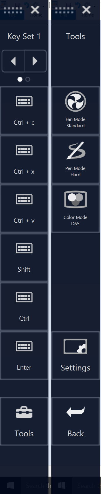 The hardware shortcut menus are accessed by tapping the L button along the top edge of the tablet