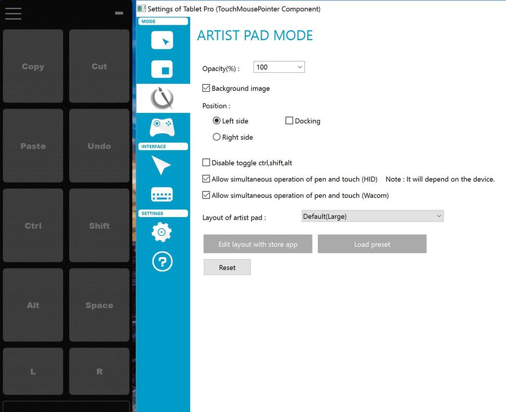 The default Artist Pad hotkeys (left) and the Artist Pad control panel.