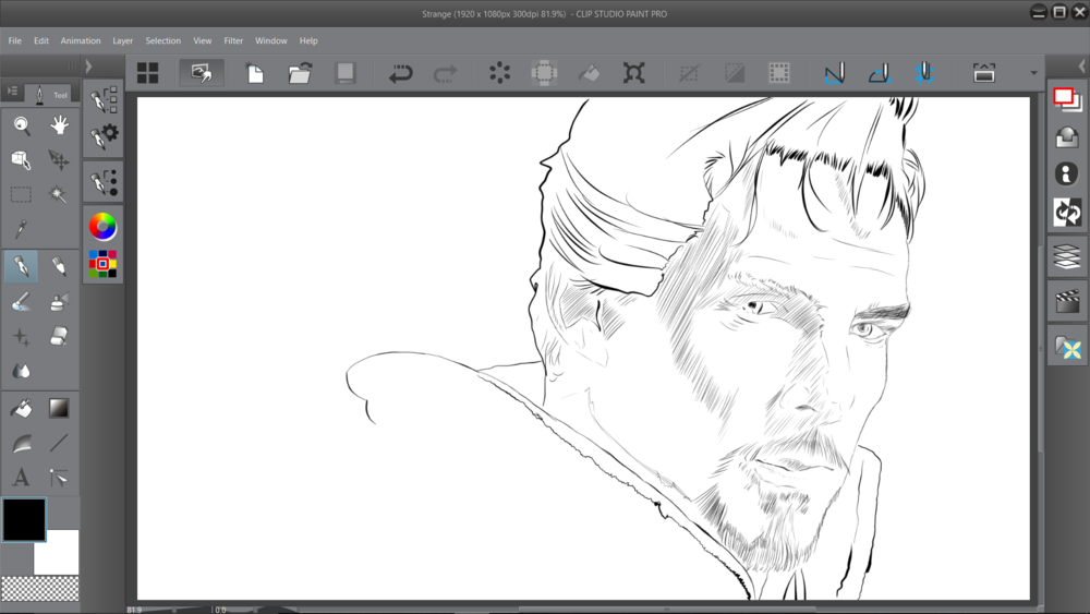 This drawing in Clip Studio Paint has much finer line work thanks to the hard plastic nib of the default pen, which had no difficulty registering through the screen protector.