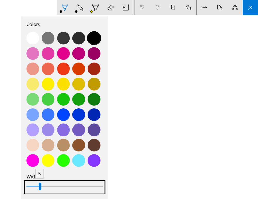 The pen and pencil tool drop downs offer a pre-set selection of 45 colors and a brush width slider from 1 to 25 pixels.