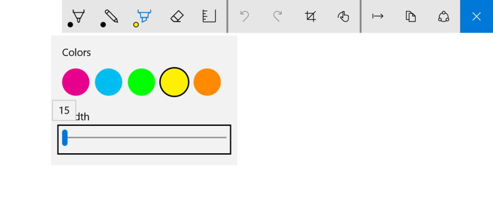 The highlighter drop down offers five colors and a width range of 15 to 45 pixels.