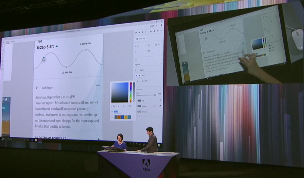 Adobe XD Windows beta was demonstrated on a Surface Studio during Wednesday's AdobeMAX keynote.