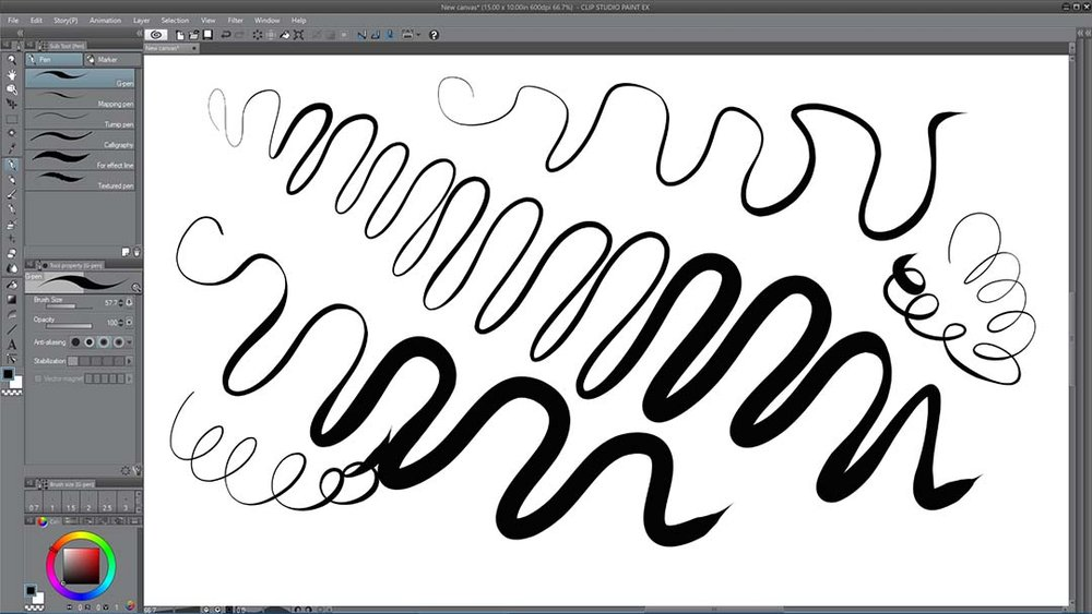 Pressure range is excellent in Clip Studio Paint with either Wintab or Windows Ink.