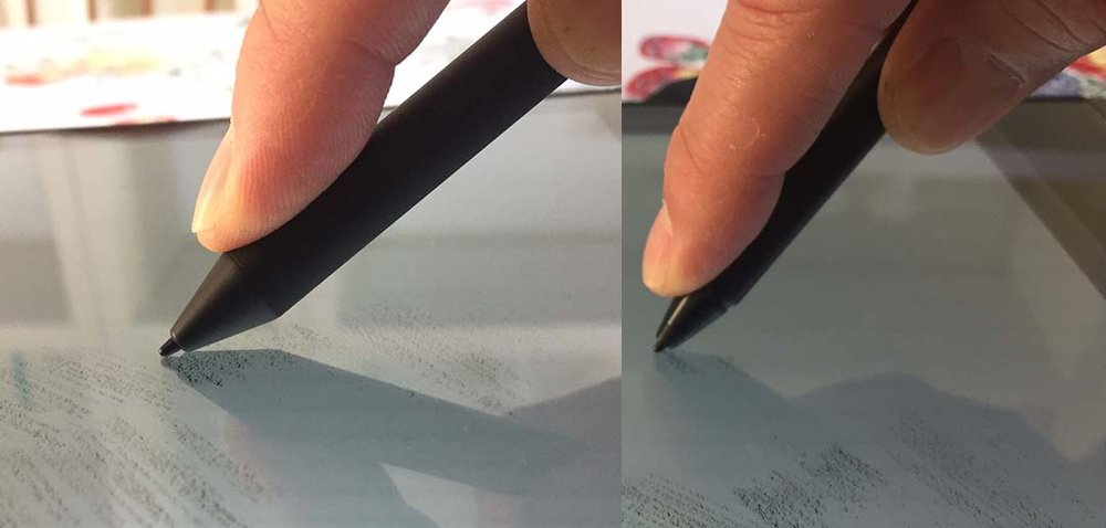 It's difficult to tell from this image (and it's no Apple Pencil) but the Bamboo Ink (left) works at a lower angle than other active pens like last year's Bamboo Smart Stylus for select tablets and 2-in-1s.