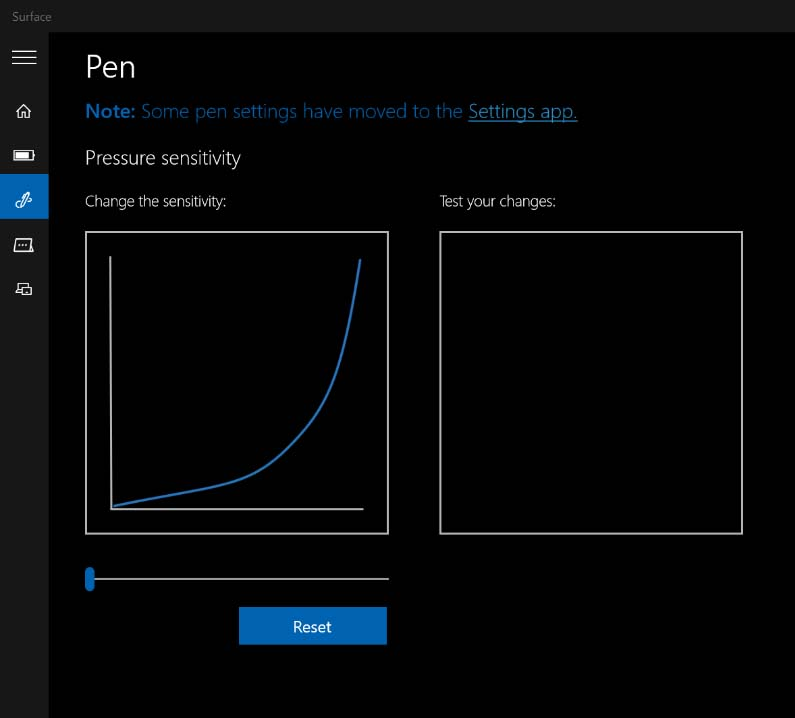 Within the Surface app (available in the Windows Store) if the pressure curve is set at the value shown above, the lower IAF Surface Pen will produce the lightest strokes possible.