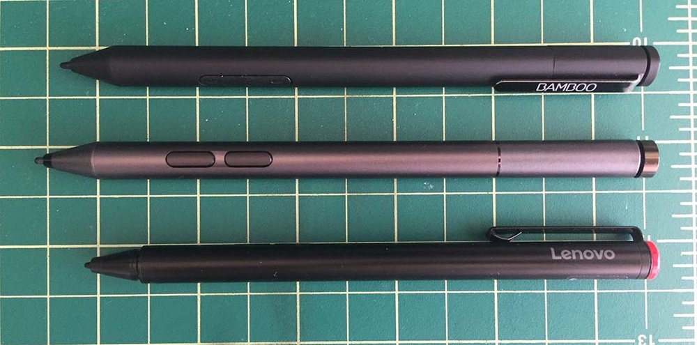 The new Lenovo Active Pen 2 with Bluetooth (center) began shipping in the US this month. Top is the Wacom Bamboo Ink and bottom is the first generation Lenovo Active Pen for Yoga 700 and 900.