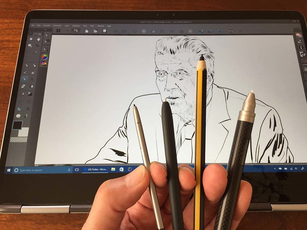 The Notebook 9 Pro's S-Pen (left) is almost flat. The full-size S-Pen and Staedtler Noris Digital are acceptable, but much narrower than the Wacom Bamboo Stylus Feel (far right) which is the width of a standard pen.