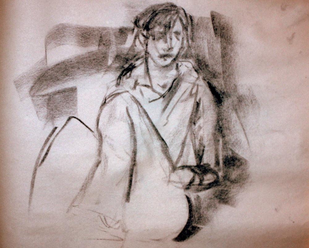 """Abby#1 (2009)  Charcoal on Newsprint   (15""""X18"""")"""