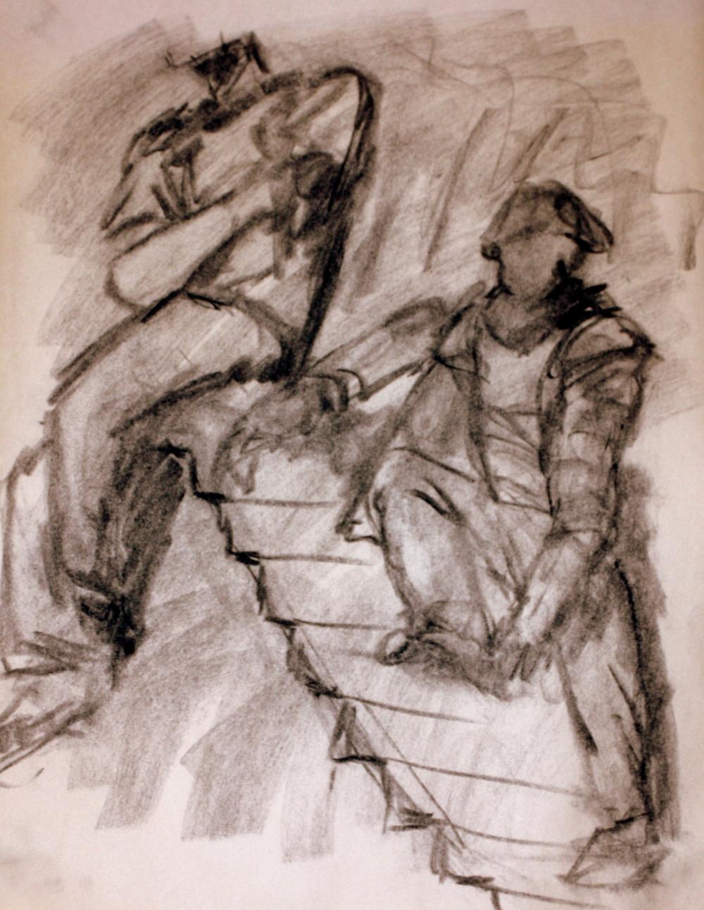 """Two Guys on Steps (2009)  Charcoal on Newsprint   (24""""X18"""")"""