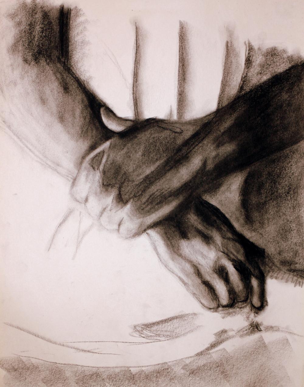 """Hands (2009)  Charcoal on Newsprint  (24""""X18"""")"""