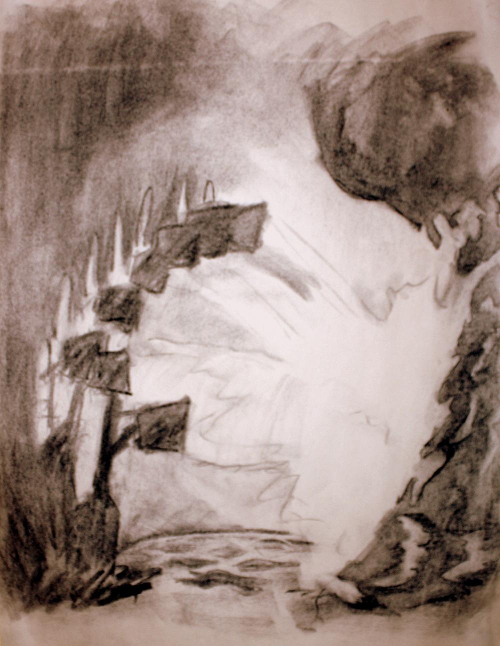 "Fantasia (Film) Brooms Throwing Water (2010)  Charcoal on Newsprint  (24""X18"")"