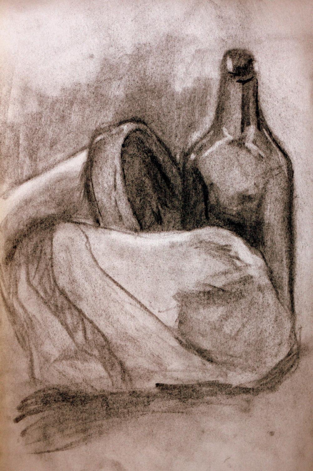 "Bottle, Clay Pot & Rock (2010)  Charcoal on Newsprint  (20""X14"")"