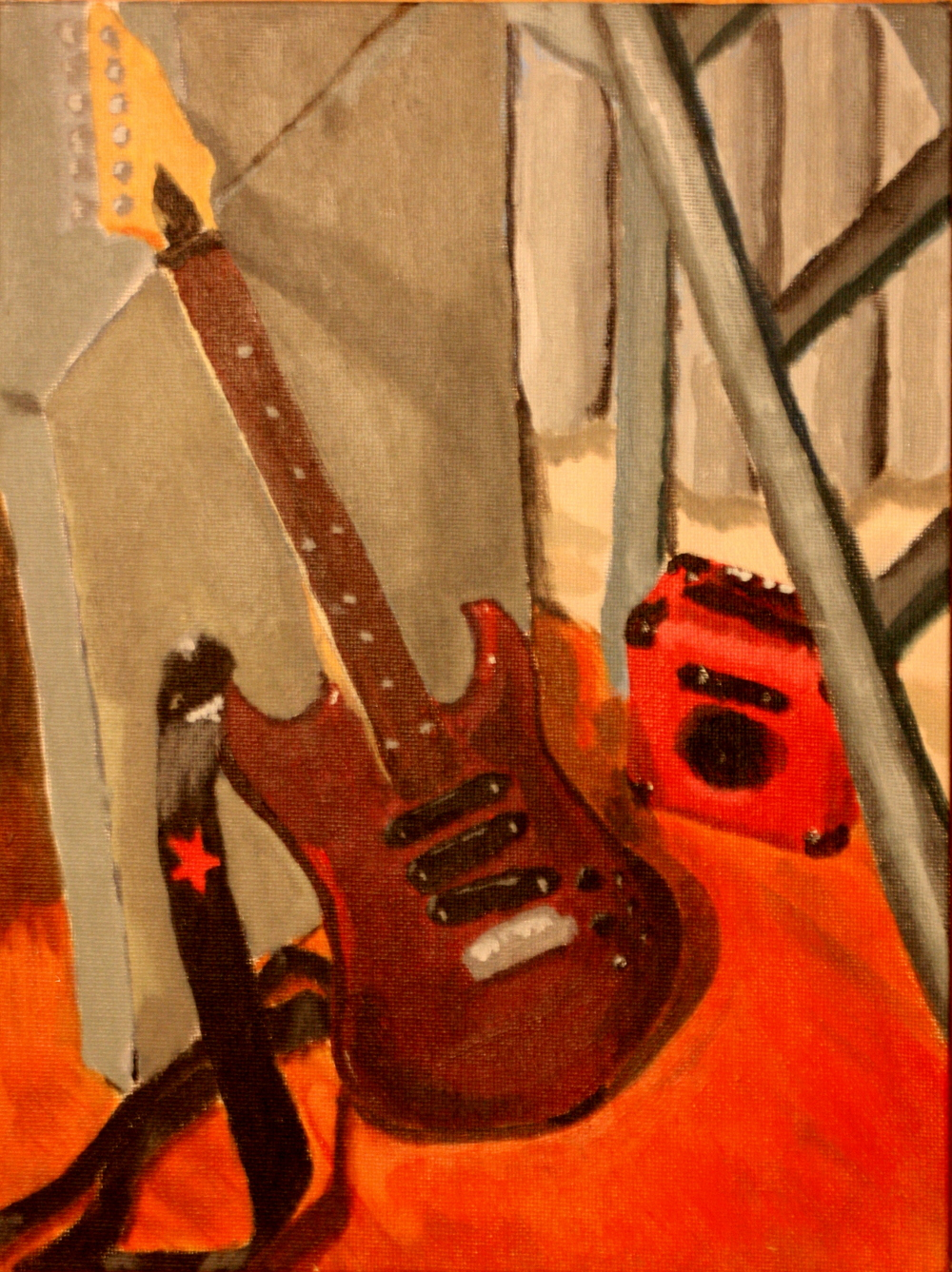 """Electric Guitar and Amp (2005)  Acrylic and Canvas Board  (12""""X9"""")"""