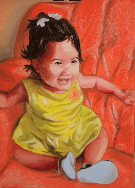 "Maribel's Daughter (2012) SOLD  Oil on Canvas   (24""X18)"