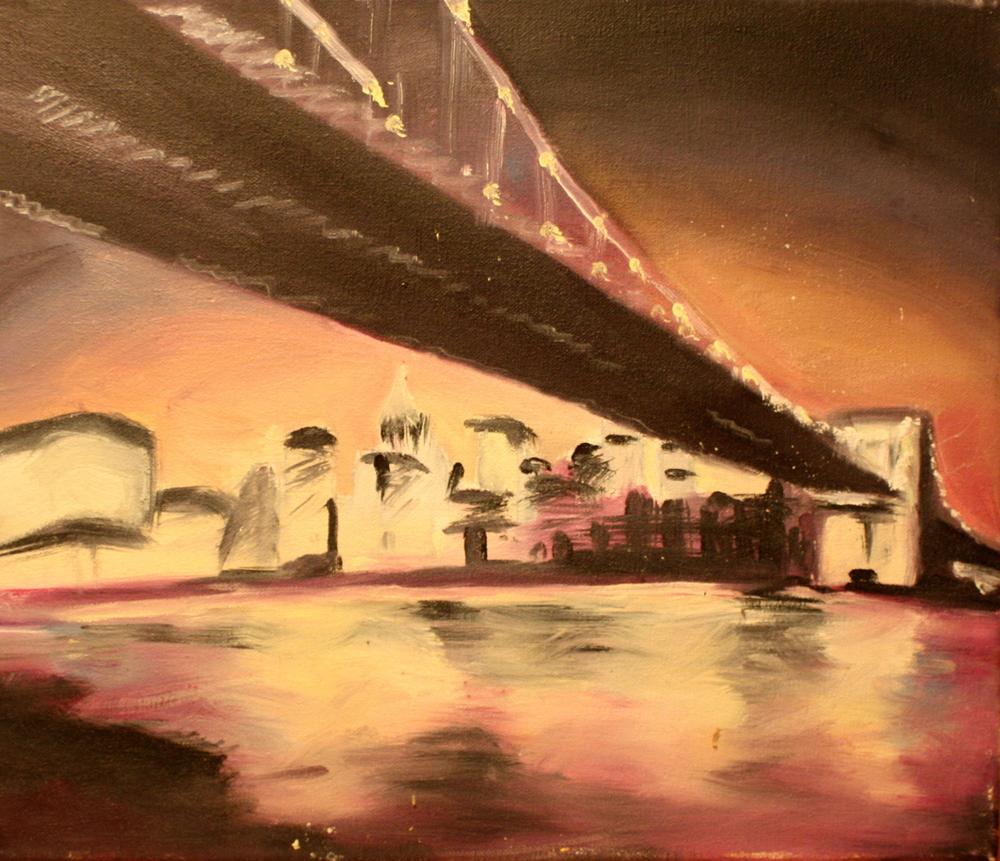"Brooklyn Bridge (2010)  Oil on Canvas   (12""X14"")"