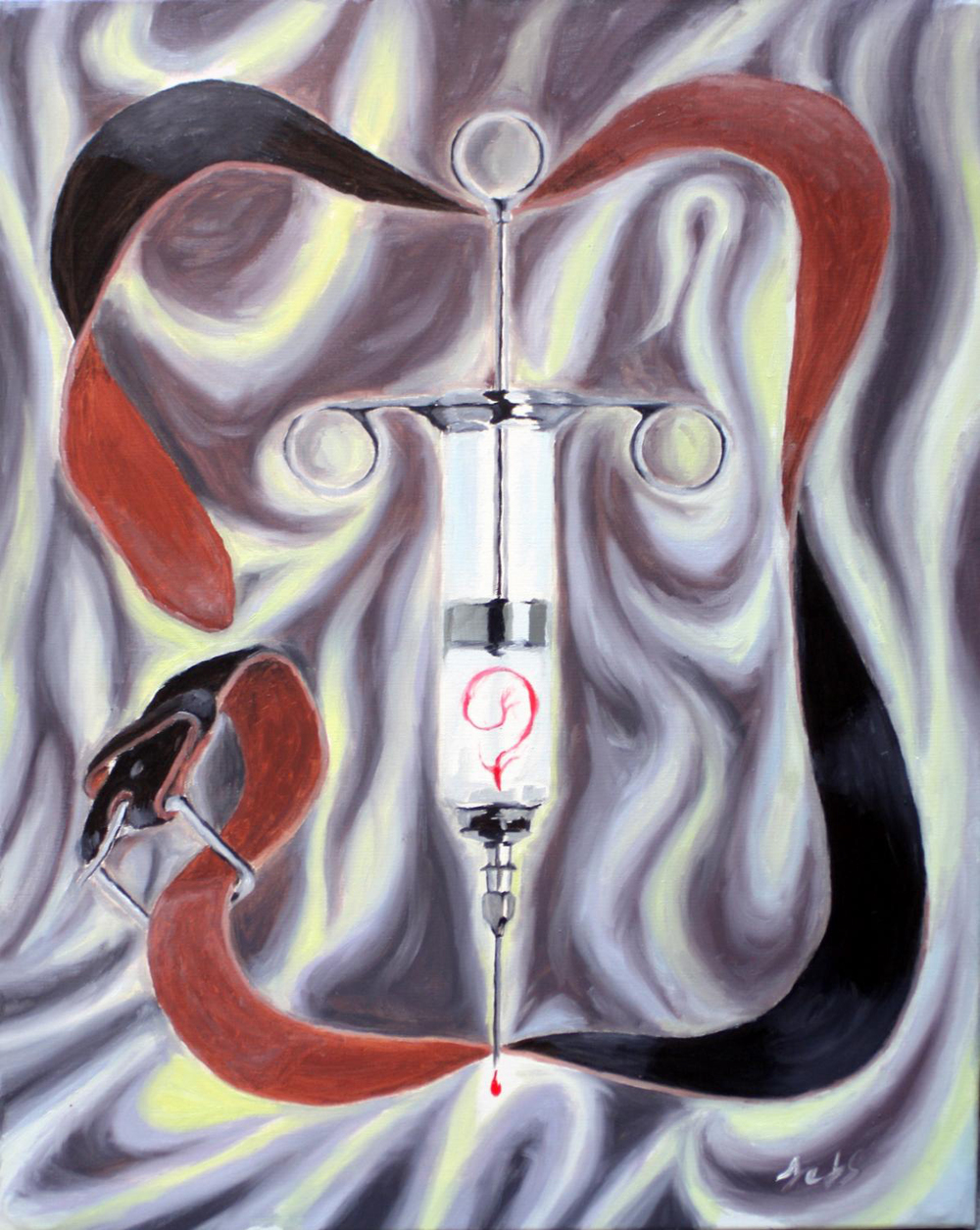 "Holy Syringe (2012)  oil paint on canvas  (24""x30"")"