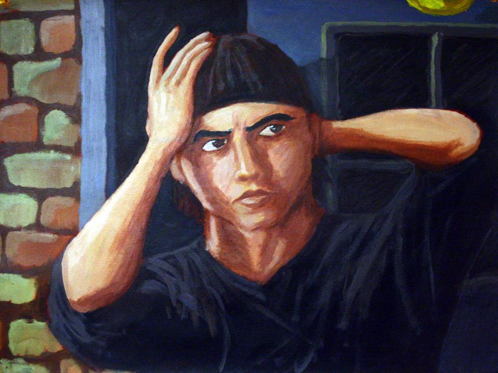 "Self-portrait (2004)  Color Acrylic on Cardboard   (18""x24"")"