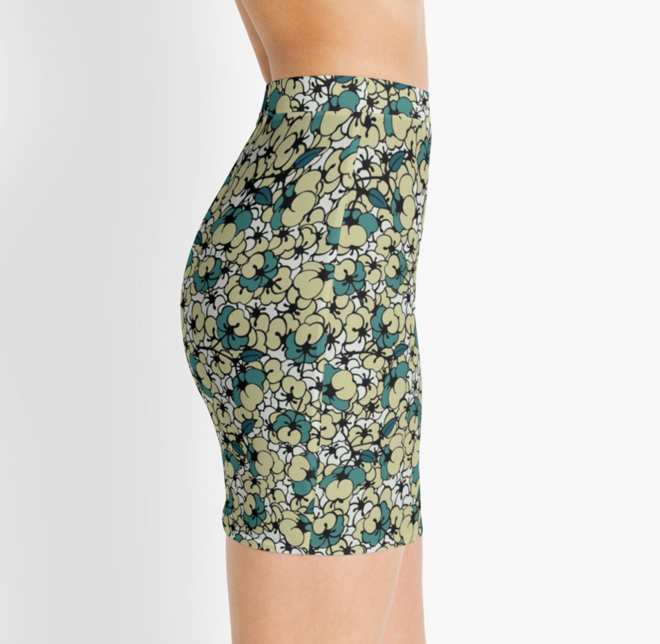 Dogwood  Pencil Skirt by SickSweet .Repeated print front and back, stretch waistband, made with 82% Polyester, 18% Elastane. Buy it  here .