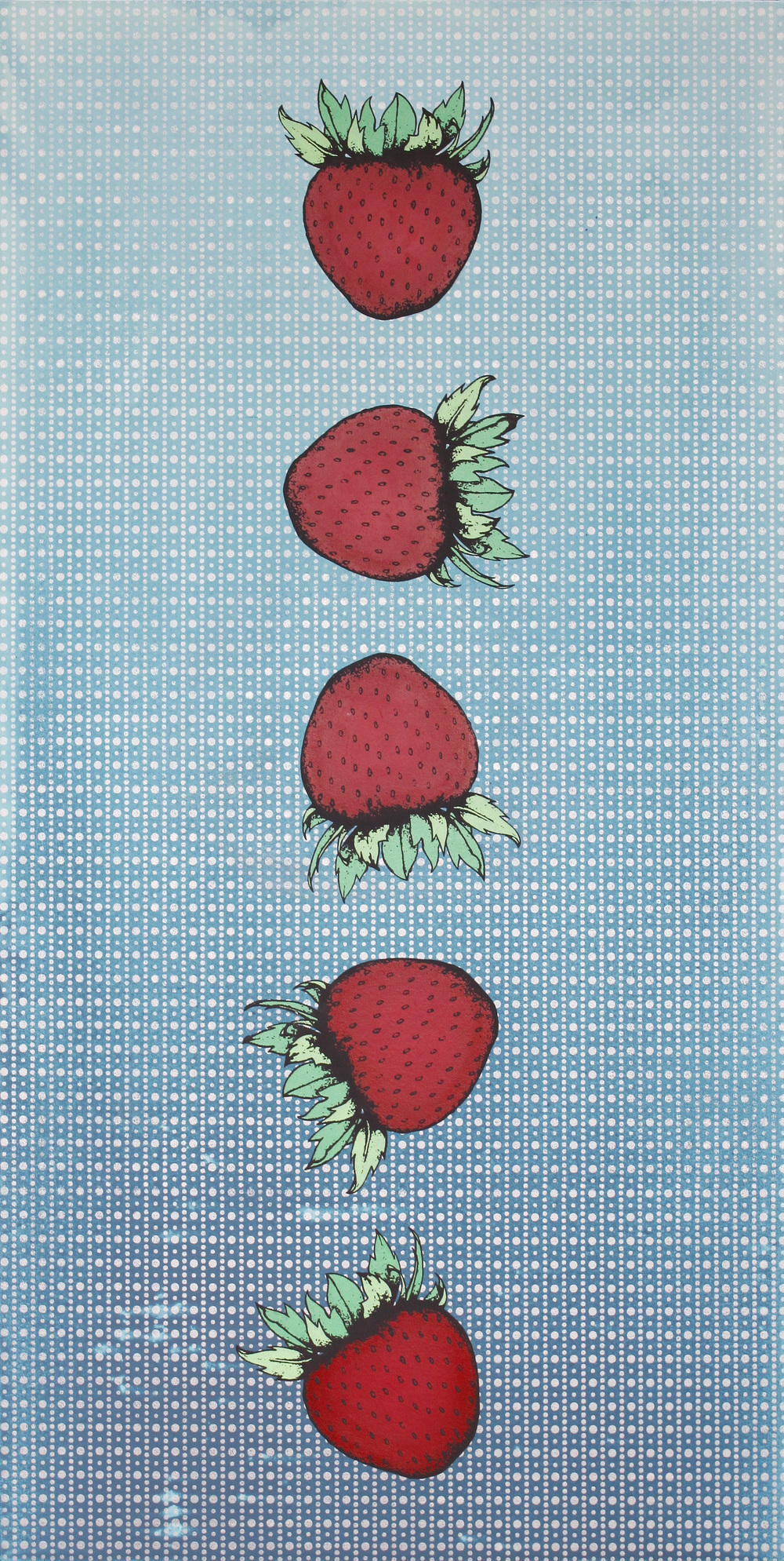 The Perfect Strawberry.2016.Acrylic on canvas mounted on board.48 x 24 inches.