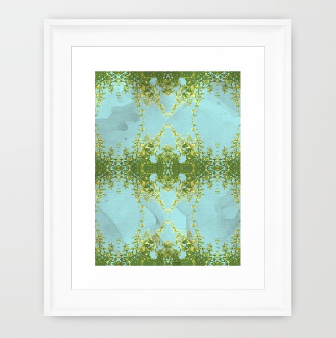 Hot Mint and Blue Sky Framed Art Print by SickSweet   Society6.png