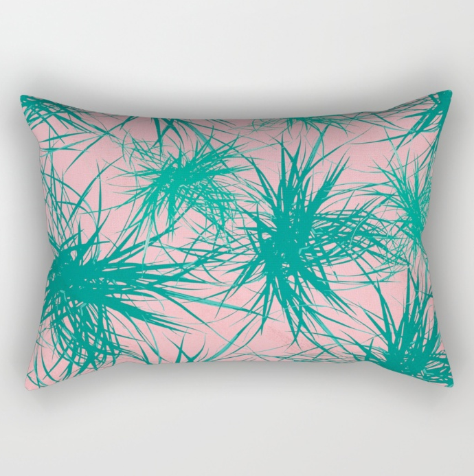 Dragon Plant Pattern  Pink Variation  Rectangular Pillow by SickSweet   Society6.png