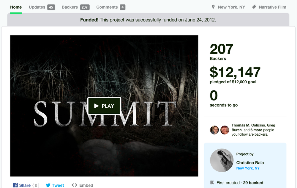 June 2012 : Kickstarter Success for  Summit !