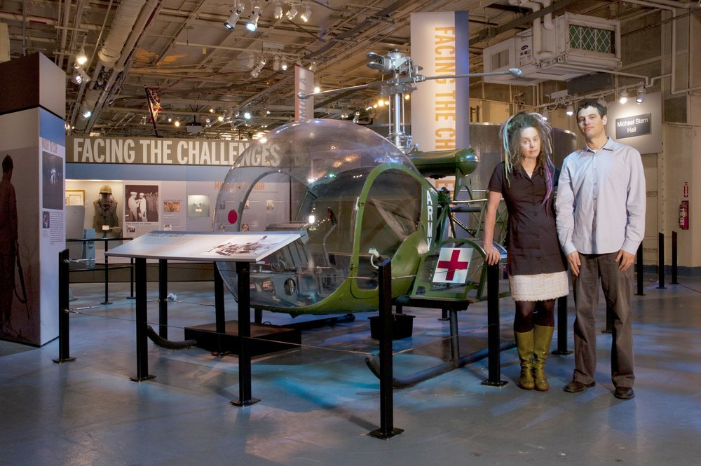 Molly and Joey in the Moey-designed Heroic Journeys exhibit at the Intrepid Air and Space Museum