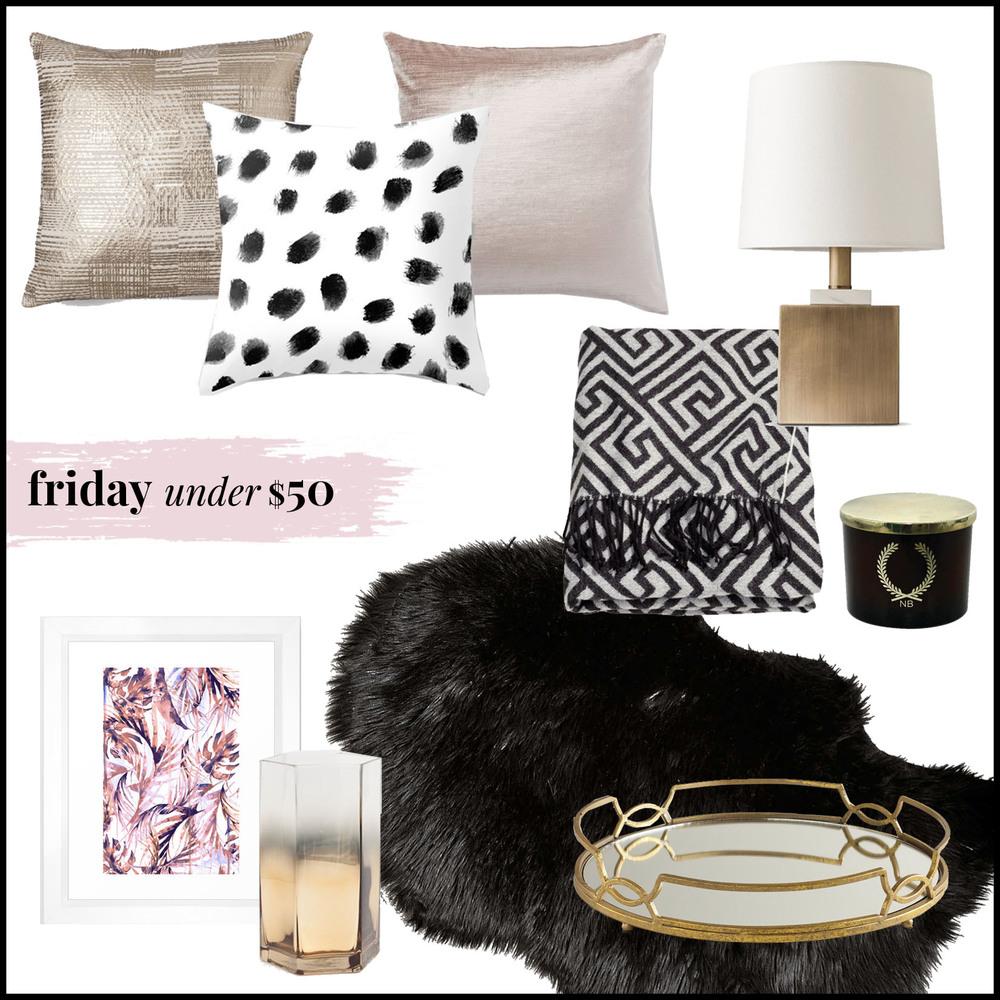 gold foil pillow | black spots pillow| blush pink pillow | brass & marble lamp | jacquard-weave throw | nate berkus candle | black sheepskin | mirrored tray | glass vase | tropical palms print