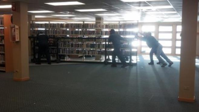 Hallett staff move ranges at Nippersink Library