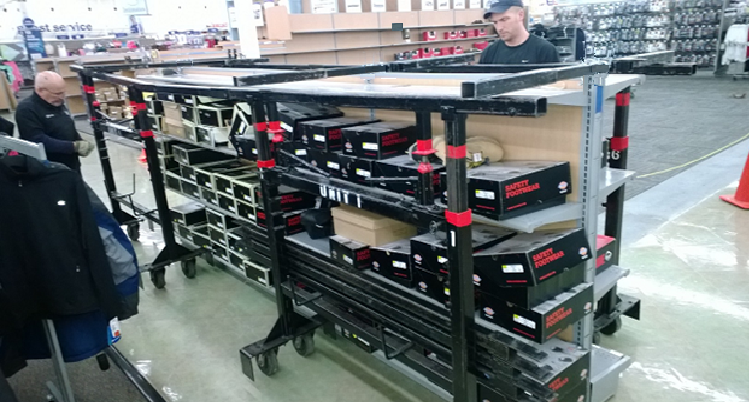 Marty Pedraza and Jim Shanahan set rack mover to relocate shoe display rack.