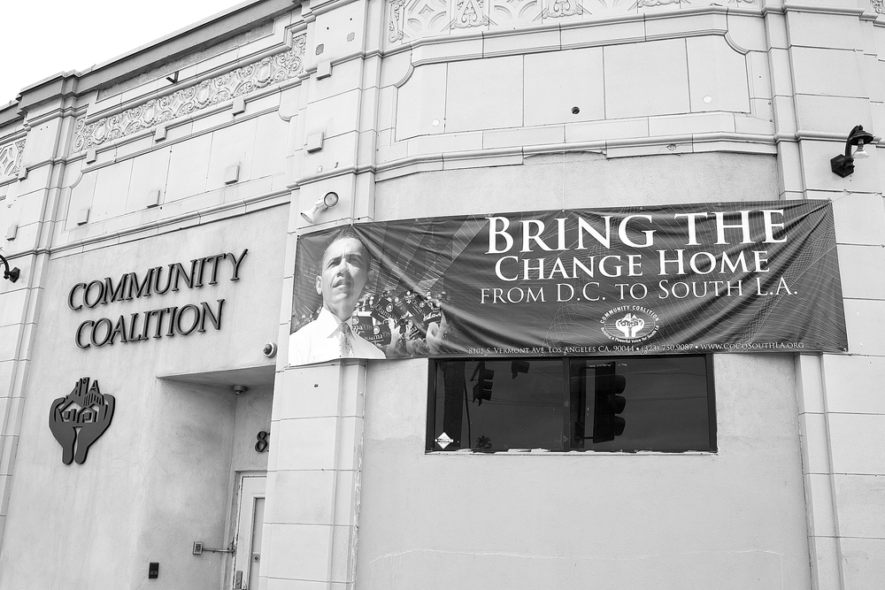 """Bring the Change Home from D.C. to South L.A,"" Community Coalition, South Los Angeles. Nonprofit and social justice organizations are an essential part of South Los Angeles's landscape. 2009.                                0     false             18 pt     18 pt     0     0         false     false     false                                                     /* Style Definitions */ table.MsoNormalTable 	{mso-style-name:""Table Normal""; 	mso-tstyle-rowband-size:0; 	mso-tstyle-colband-size:0; 	mso-style-noshow:yes; 	mso-style-parent:""""; 	mso-padding-alt:0in 5.4pt 0in 5.4pt; 	mso-para-margin:0in; 	mso-para-margin-bottom:.0001pt; 	mso-pagination:widow-orphan; 	font-size:10.0pt; 	font-family:""Times New Roman"";}"