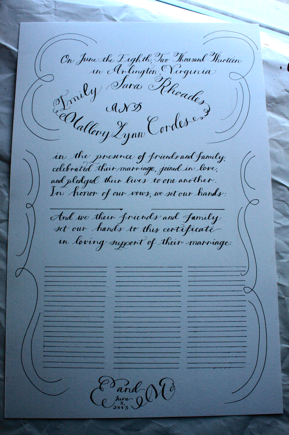 Quaker Wedding Certificate For Emily And Mallory Bluestocking