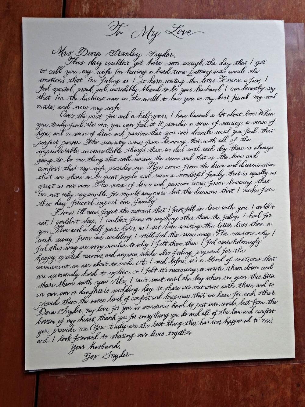 Charlottesville calligrapher: Love letter — Bluestocking Calligraphy