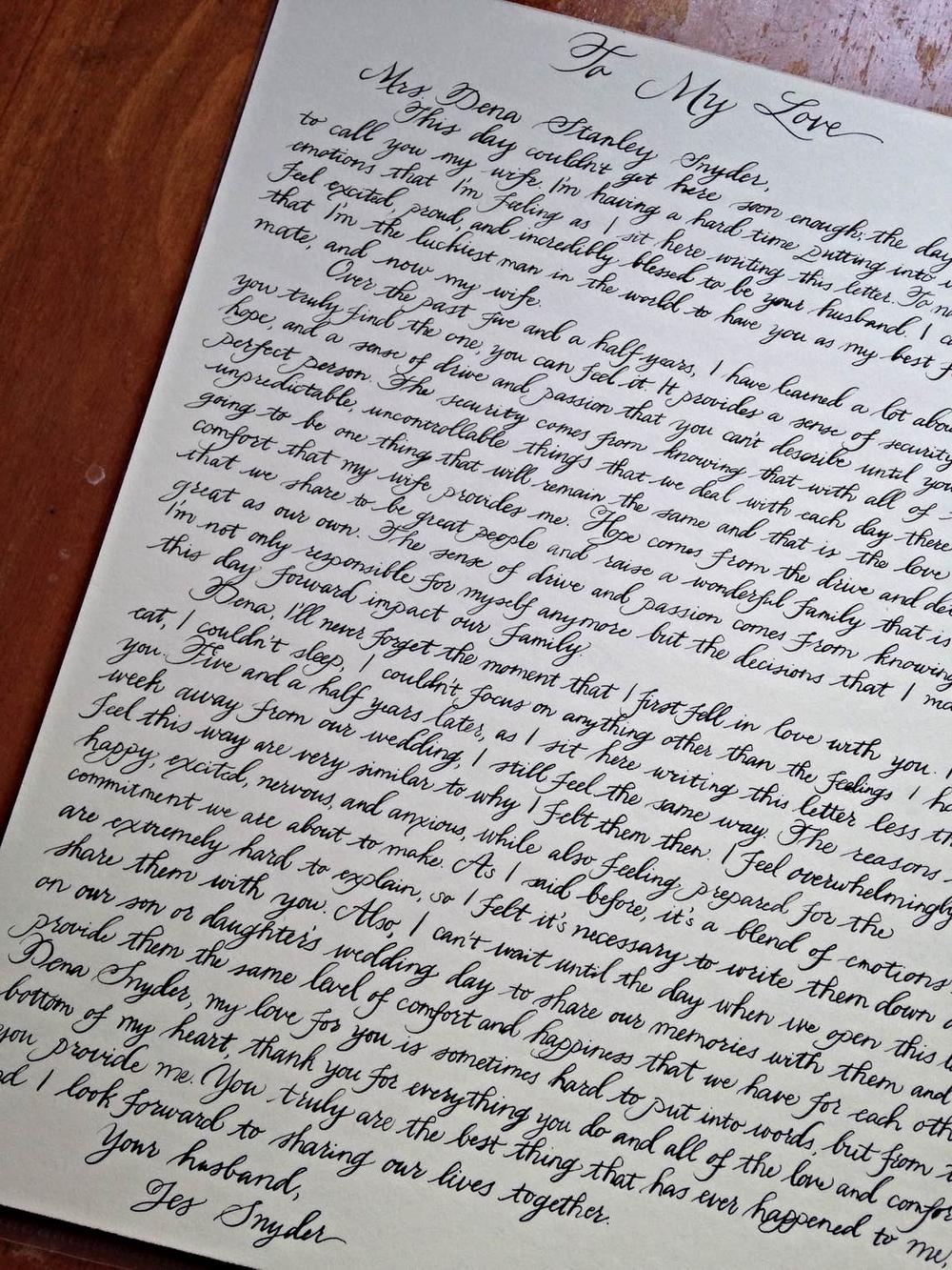 Charlottesville Calligrapher Love Letter Bluestocking Calligraphy