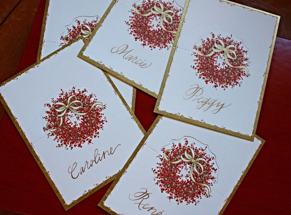 Bluestocking Calligraphy | Holiday place cards