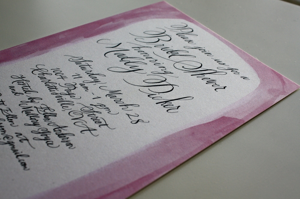 Bluestocking Calligraphy / Bridal shower invitation