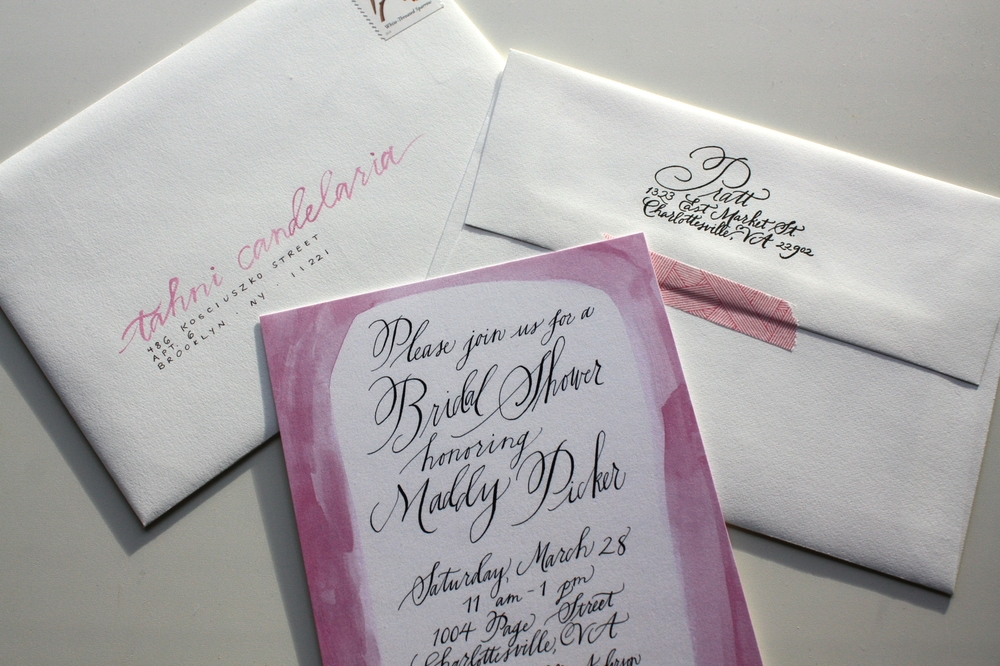Bluestocking Calligraphy / Bridal shower invitation + envelopes in Della style